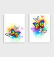 design with rainbow butterflies vector image vector image