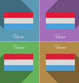 Flags Luxembourg Set of colors flat design and vector image