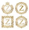 golden letter z vintage monograms set heraldic vector image vector image