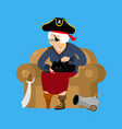 grandmother pirate old buccaneer and cat grandma vector image
