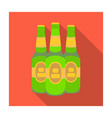 green glass beer bottles alcoholic drink pub pub vector image