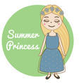 hand drawn girl with long blonde hair and forget vector image