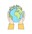 hands holding planet earth with green leaves vector image vector image