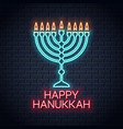 happy hanukkah neon sign on wall background vector image vector image