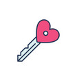heart key modern icon valentines day vector image