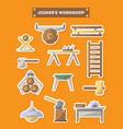 joinery workshop furniture icon set in flat style vector image vector image
