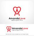 letter a love logo template design emblem vector image