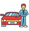 man buying new car auto dealer vehicle vector image