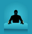 man in mask sitting in front of a table vector image vector image