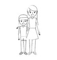 mom embracing with her daughter standing vector image vector image