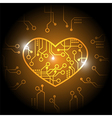 Orange circuit heart background vector image