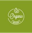 organic shop logo round linear logo eco store vector image vector image