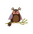 owl cartoon cute owl on tree branch vector image