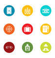 photo hunting icons set flat style vector image vector image