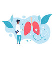 pulmonologist examines lungs concept of vector image vector image