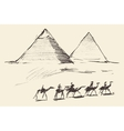 Pyramids Cairo Egypt with Caravan Camels Vintage vector image vector image