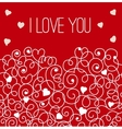 Red greeting card with floral heart shape I love vector image vector image