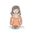 redhead woman surprised by piece of cake vector image vector image