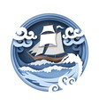 sailboat and raging sea in vector image vector image