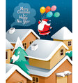 Santa Claus With Balloons Flying Over Village vector image vector image