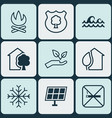 set of 9 ecology icons includes sun power timber vector image vector image