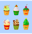 set of sweet christmas and new year cupcakes vector image vector image