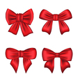 Set red gift bows isolated on white background vector image