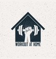 strong raised arm with dumbbell in house vector image vector image