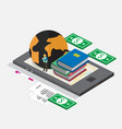 technology mobile phone isometric for book store vector image vector image