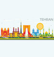 tehran skyline with color landmarks and blue sky vector image vector image