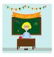 the teacher in the classroom sittting near the vector image