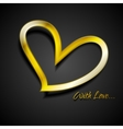 Valentine Day background with golden heart vector image
