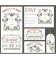 Vintage wedding design template setFloral decor vector image vector image