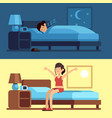 woman sleeping waking up girl relaxing bedroom vector image
