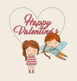 happy valentines-cupid with bow arrow and girl vector image