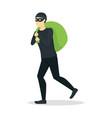 cartoon criminal man or thief with bag vector image