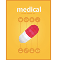 midical icons set with pill polygon style vector image