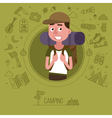 Active Lifestyle Tourist with Camping Equipment vector image vector image