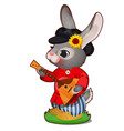 animated hare with hat and russian balalaika in vector image vector image
