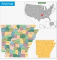 Arkansas map vector image vector image