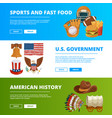 banners set with symbols of american culture vector image vector image