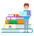 boy stand with laptop near stack books library vector image vector image