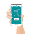 buy button on web application with shopping cart vector image vector image