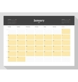 Calendar Template for 2017 Year January Business vector image