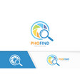 camera shutter and loupe logo combination vector image vector image