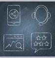 communication with customer icon set on chalkboard vector image
