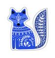 cute blue folk art fox on white background vector image