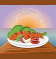 delicious grilled fish menu restaurant vector image vector image
