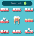 Dental care flat design of heathy theeth caries vector image