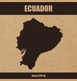 detailed map of ecuador on craft paper vector image